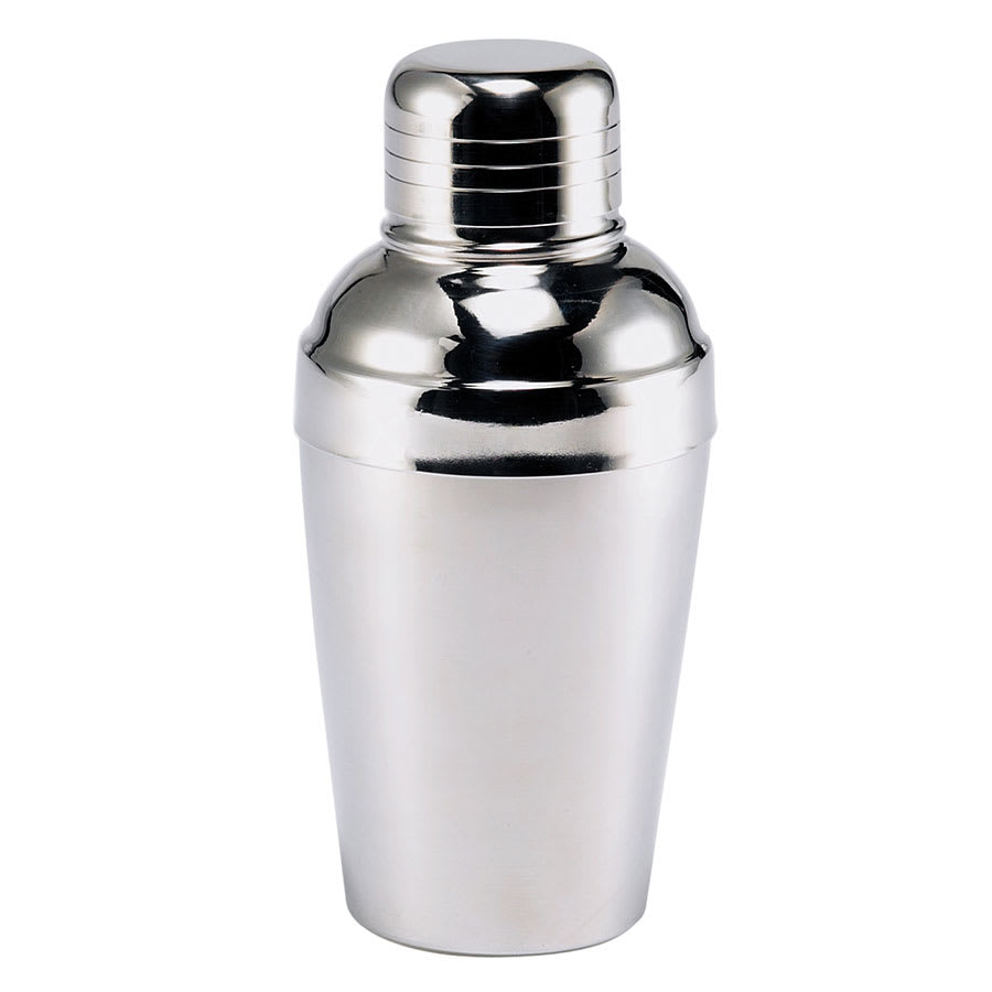 Browne 57502 Cocktail Shaker, 8 oz, 18/10 Stainless Steel, Strainer & Cover Cup