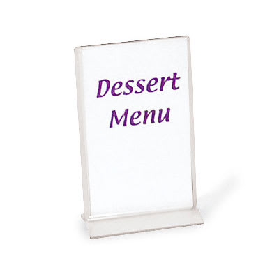 "Browne 575695 Tabletop Menu Card Holder - 3.5"" x 5.5"", Acrylic"