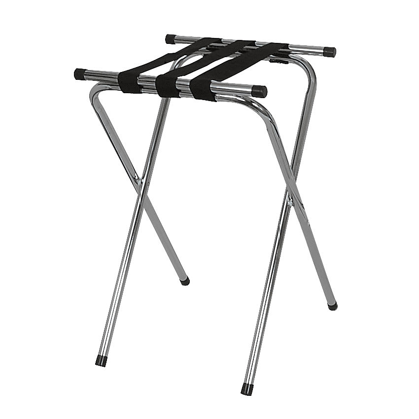 Browne 575696 Deluxe Tray Stand w/ Double Bar & 3 Straps, Chrome Plated
