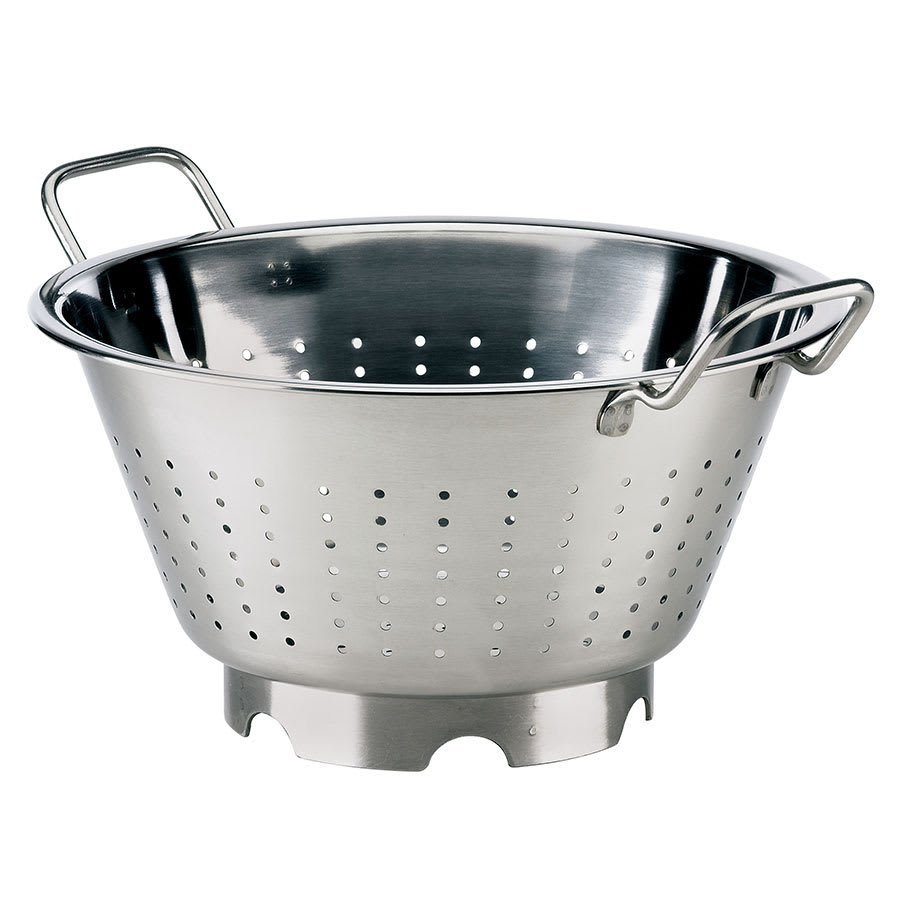 "Browne 575950 12.75"" Round European Colander, 7.25-qt, Stainless, Mirror Finish"