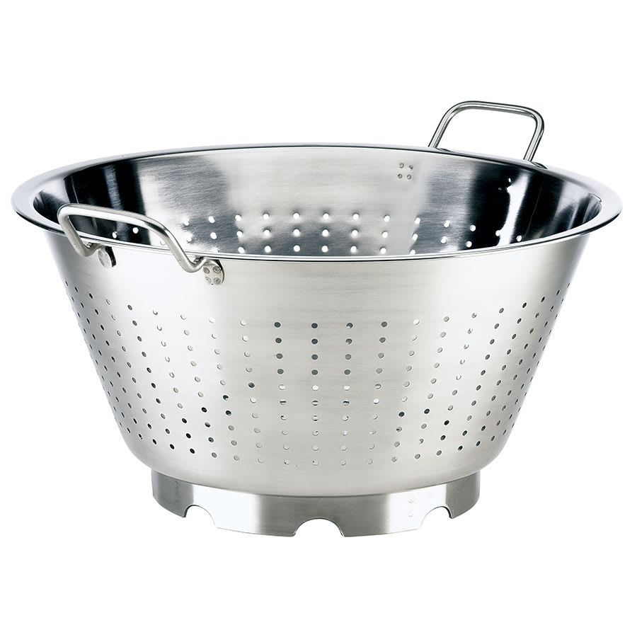 "Browne 575952 16.5"" Round European Colander, 16-qt, Loop Handles, Stainless, Mirror Finish"