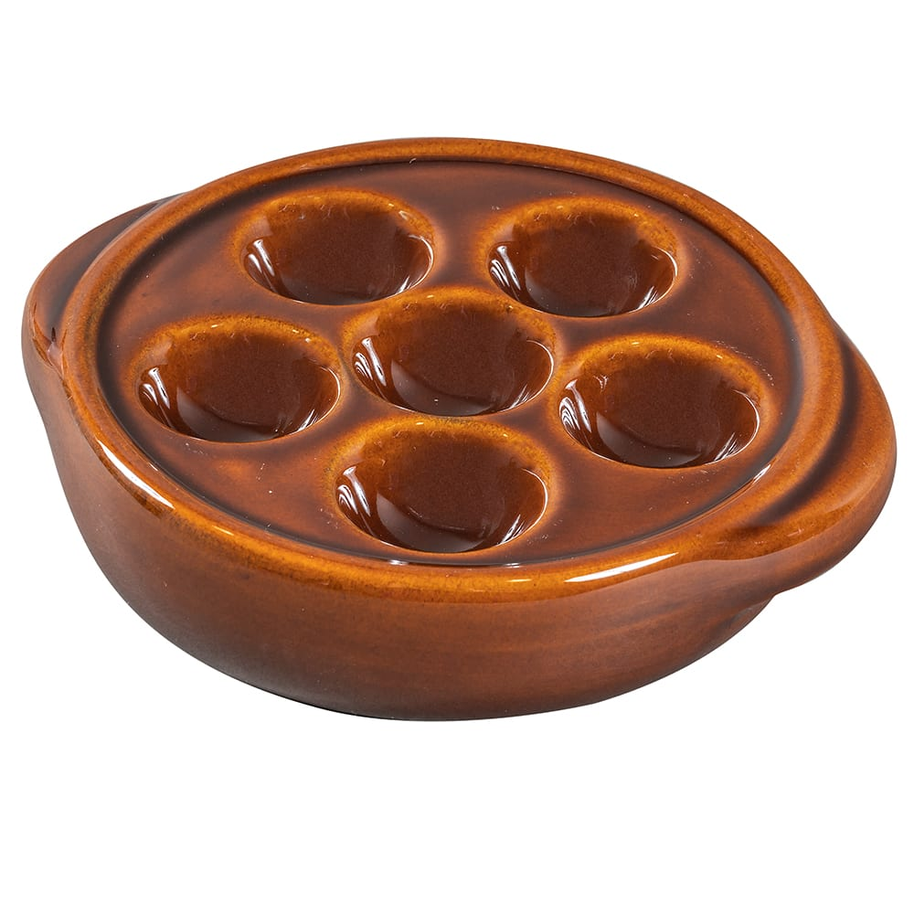 "Browne 744046 5.25"" Round Escargot Plate - 6-Holes, Ceramic, Brown"