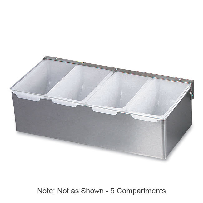 Browne 79302 Bar Caddy, 5 Compartment, Clear Plastic Hinged Cover