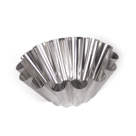 "Browne 80123050 8-2/3"" Flat Bottom Brioche Mould, 14"" Wide Ribs, Tin"