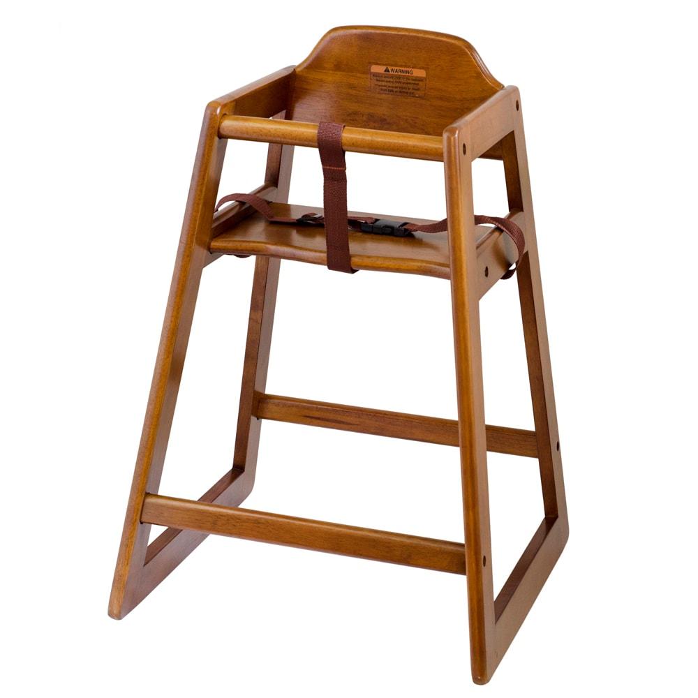 "Browne 80976 27.25"" Stackable High Chair w/ Waist Strap - Wood, Walnut"