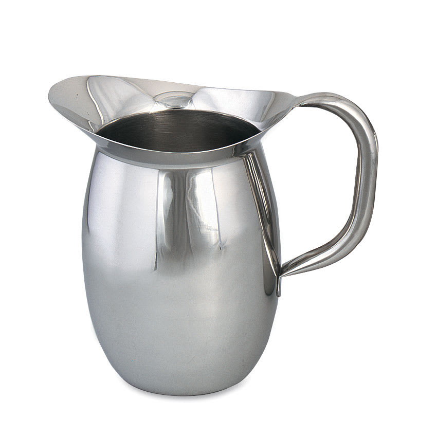 Browne 8202 68 oz Pitcher, Bell Shaped - 18/8 Stainless Steel, Tubular Handle