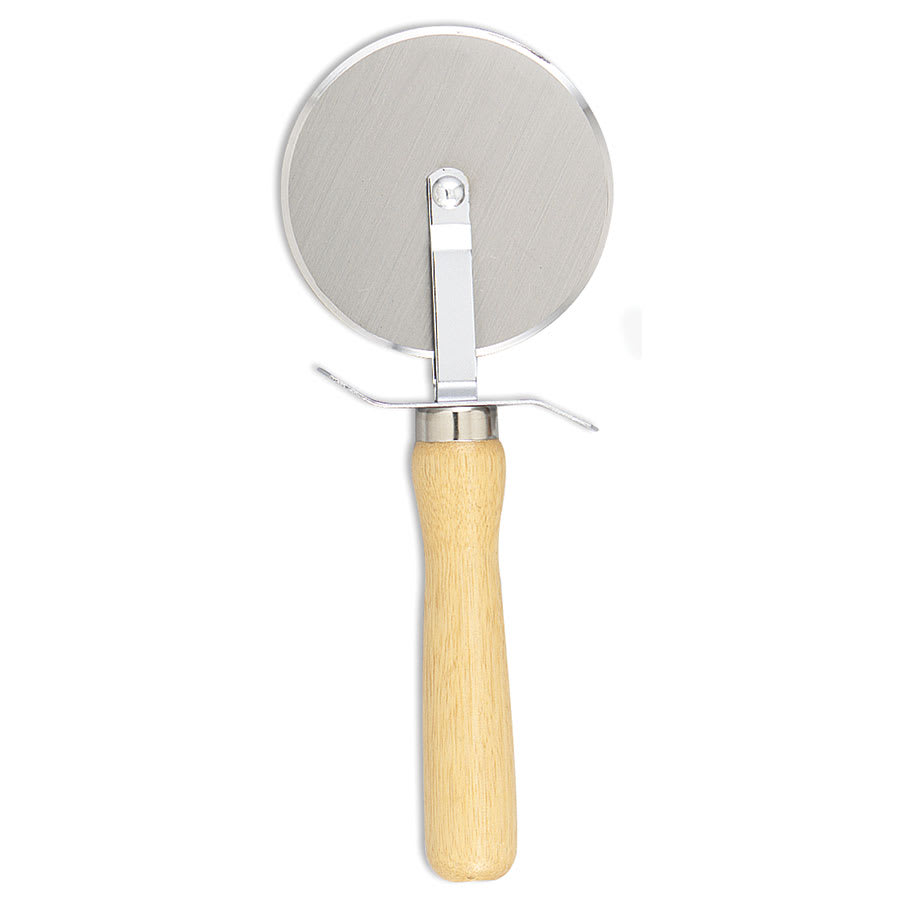 """Browne 574262 Pizza Cutter with Wood Handle, 4""""Wheel, 9""""L, with Finger Guard"""