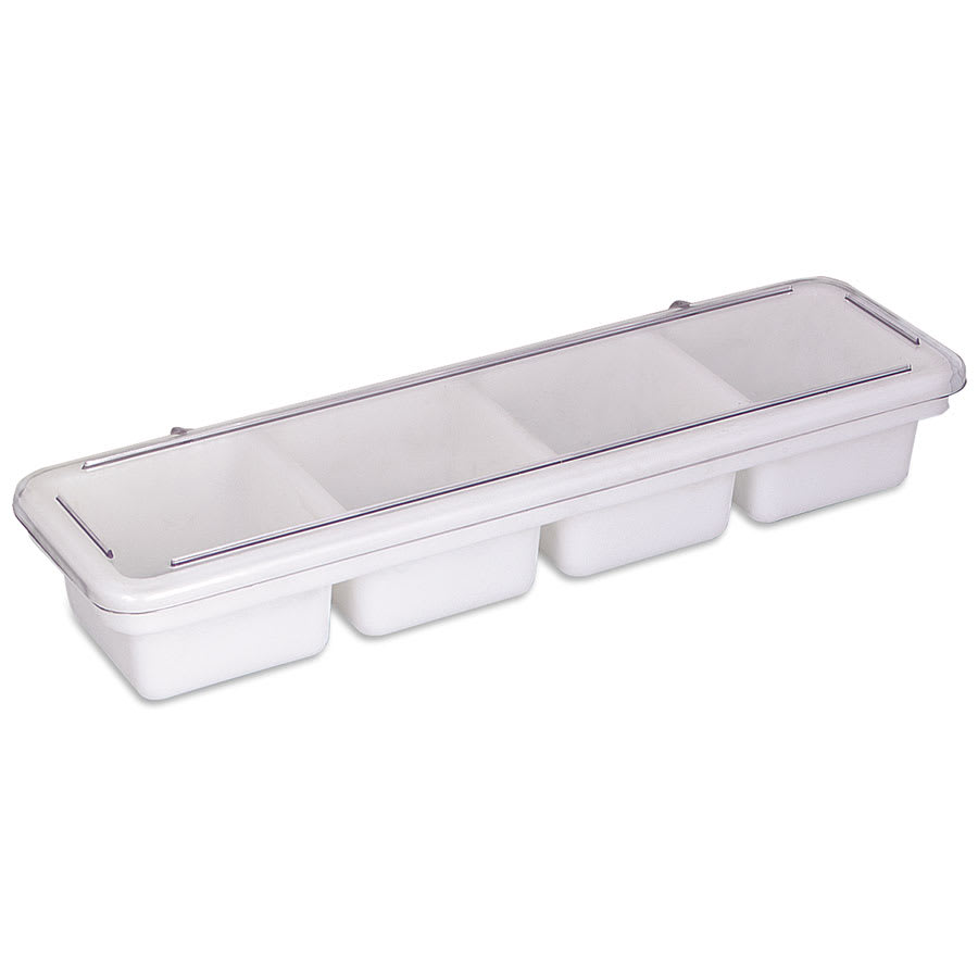 """Browne 574837 Bar Caddy/Condiment Tray, 4 Compartments, each 4 x 4"""" X 2-3/4 in, with Cover"""