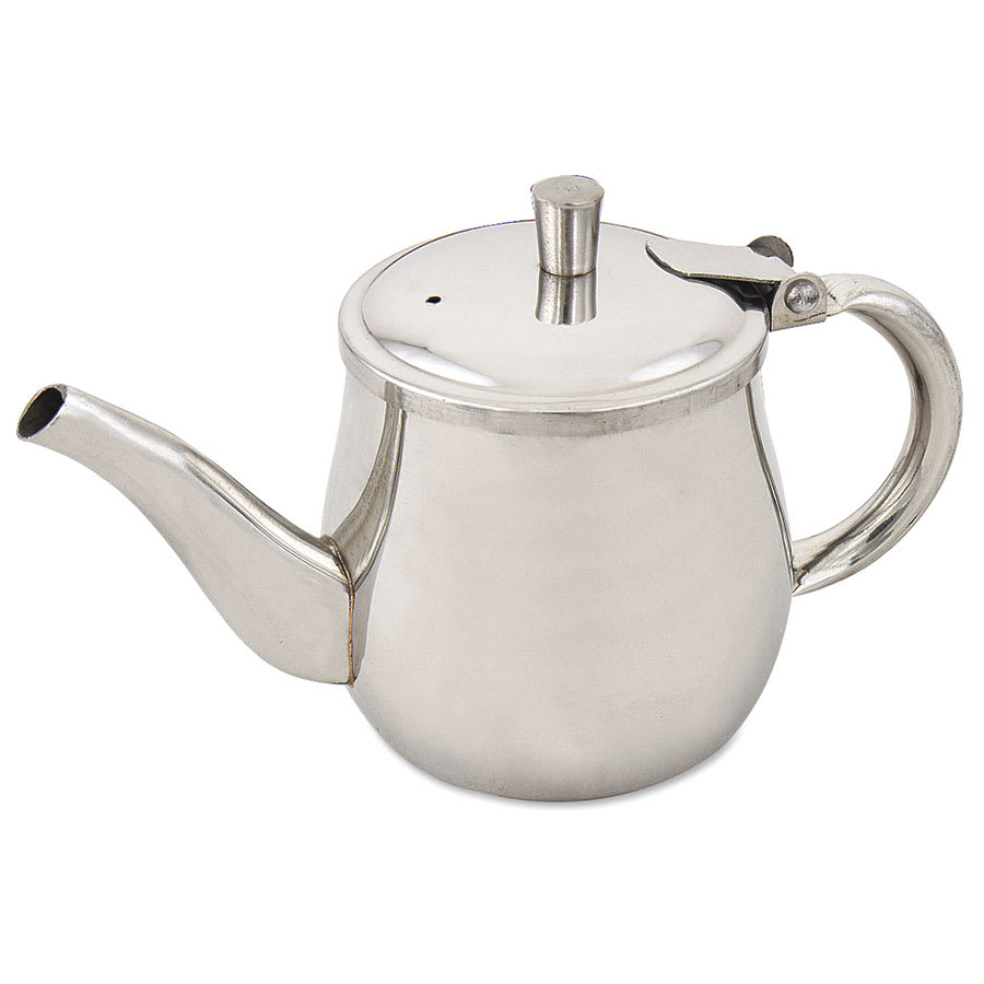 Browne 515200 Gooseneck Teapot w/ 10-oz Capacity, Hinged Lid & Hollow Handle, Stainless