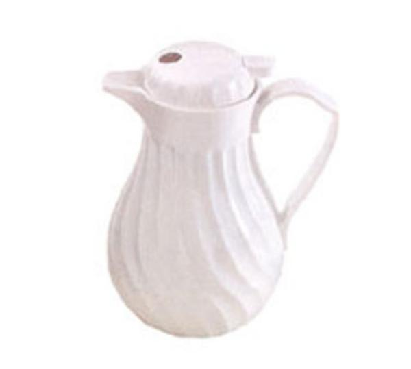 Browne IP4022W20P Beverage Pitcher, 20 oz, Insulated, Plastic, Thumb Lever, White