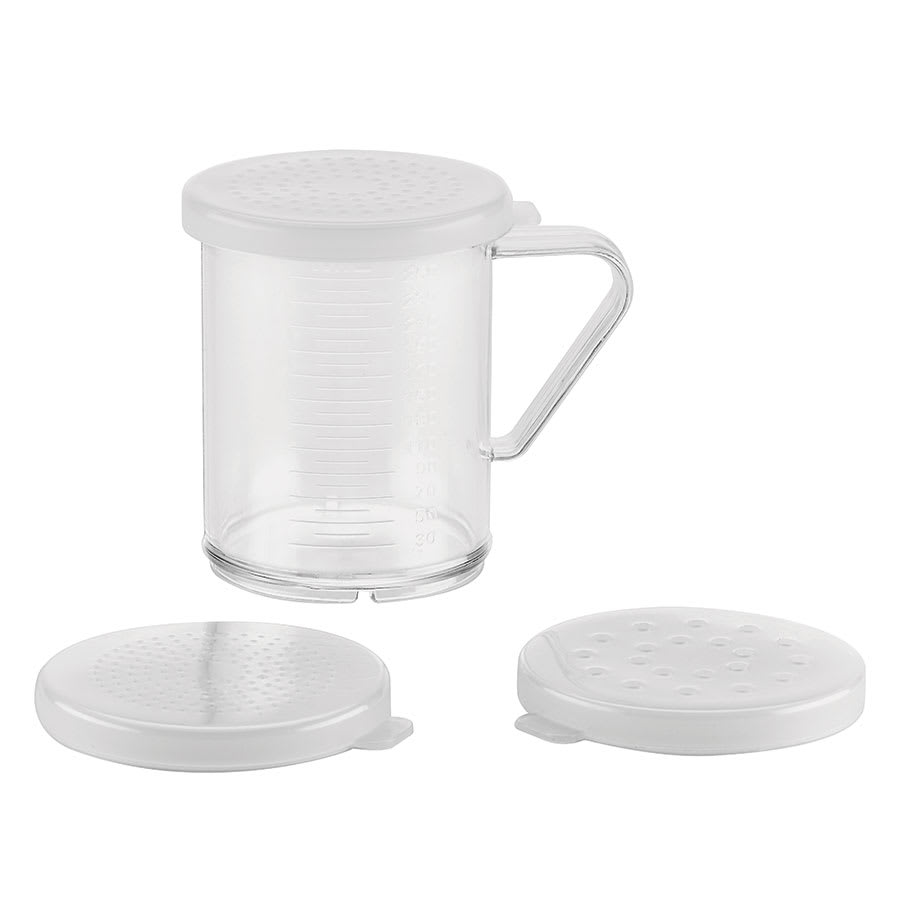 Browne 575680 Dredge Set, with 3 Lids (Small, Medium, & Large Holes), Plastic
