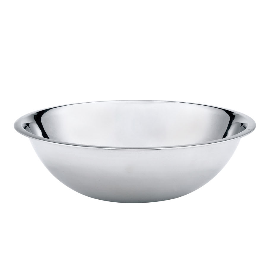 Browne 574954 Mixing Bowl, 4 qt, Rolled Edge, Mirror Polished, 700 Series