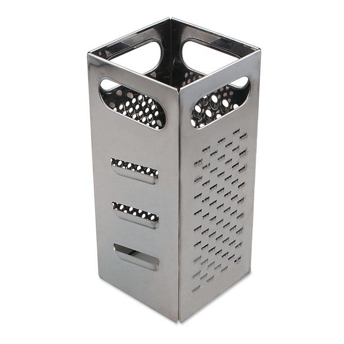 "Browne 5753300 Grater - 4x4x9"", Coarse Shredder, Medium Shredder, Slicer, Julienne Cut, Stainless Steel"