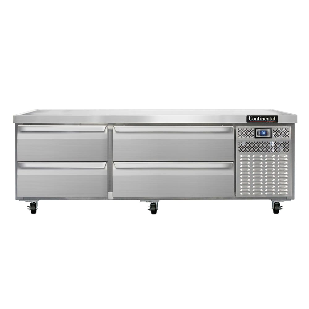 "Continental Refrigeration DL72G 72"" Chef Base w/ (4) Drawers - 115v"