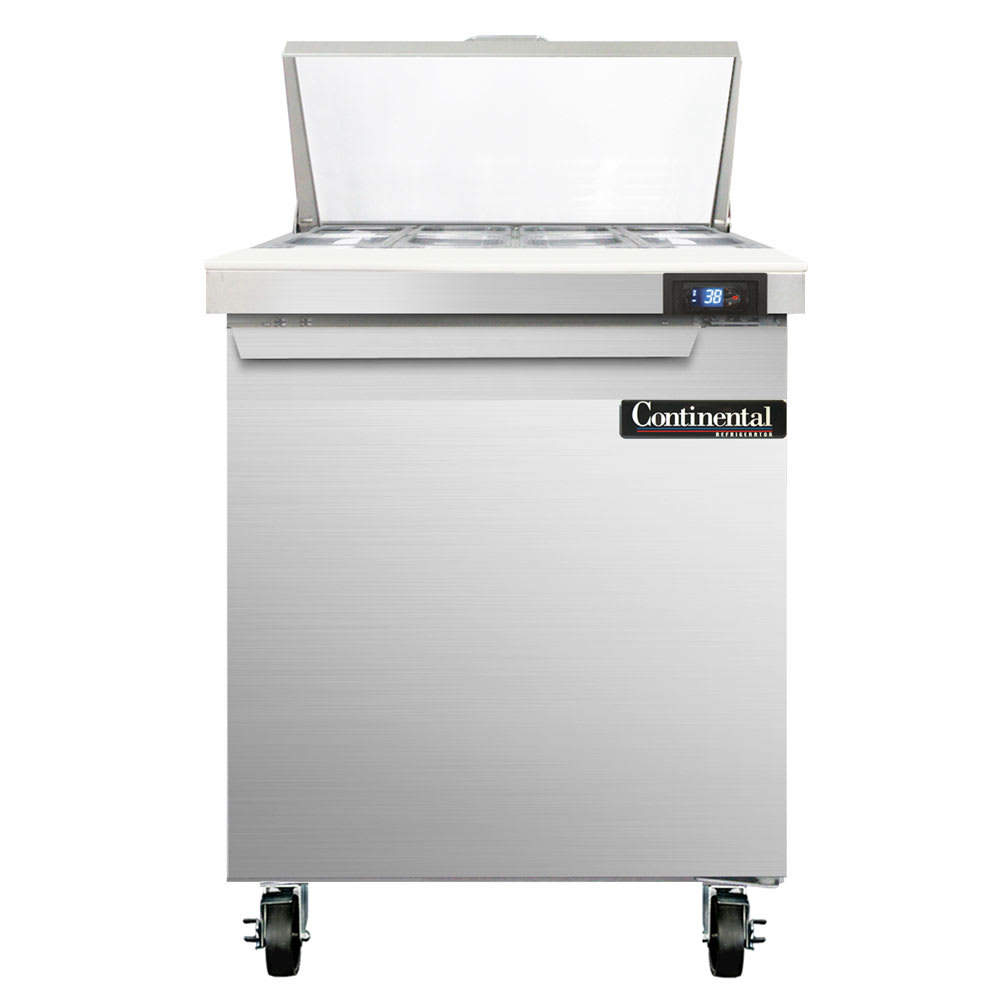 "Continental Refrigeration SW27-8 27"" Sandwich/Salad Prep Table w/ Refrigerated Base, 115v"