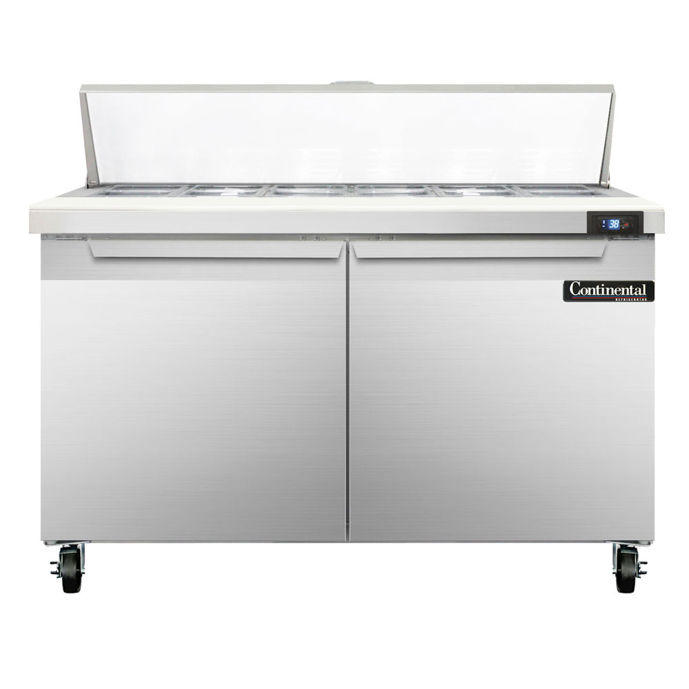 "Continental Refrigeration SW48-12 48"" Sandwich/Salad Prep Table w/ Refrigerated Base, 115v"
