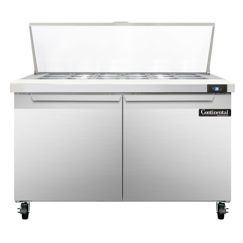 "Continental Refrigeration SW48-18M 48"" Sandwich/Salad Prep Table w/ Refrigerated Base, 115v"