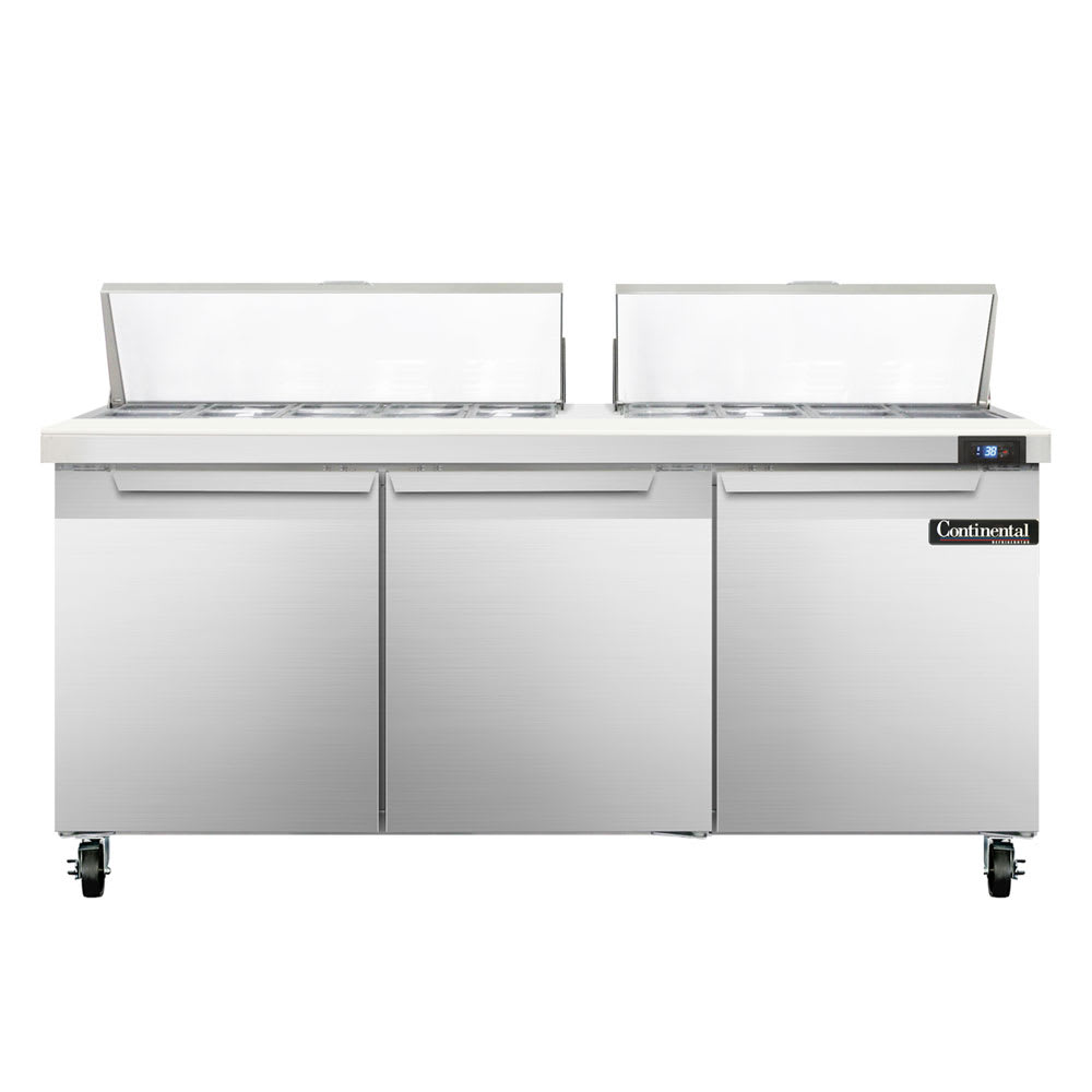"Continental Refrigeration SW72-18 72"" Sandwich/Salad Prep Table w/ Refrigerated Base, 115v"