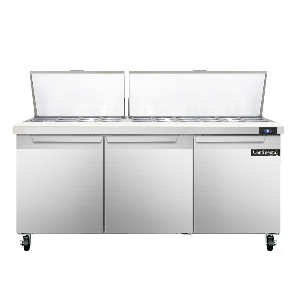 "Continental Refrigeration SW72-30M 72"" Sandwich/Salad Prep Table w/ Refrigerated Base, 115v"