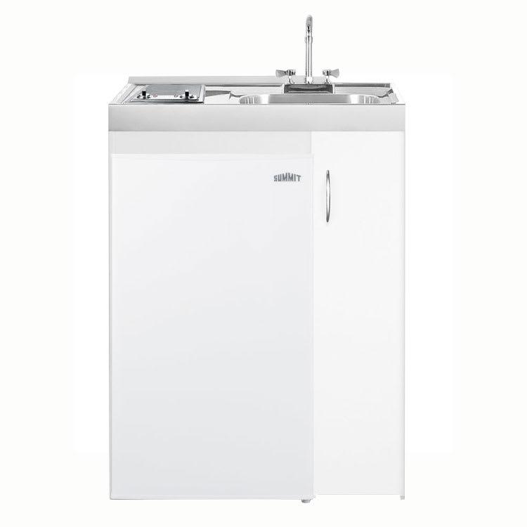 "Summit C301AUTOGLASS 30"" Combo Kitchen - 2-Ceramic Burners, Refrigerator, Freezer, 3.6-cu ft"