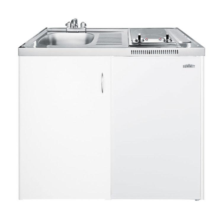 "Summit C39AUTOGLASS 39"" Combo Kitchen - 2-Burners, Refrigerator, Freezer, Auto Defrost, 3.6-cu ft"