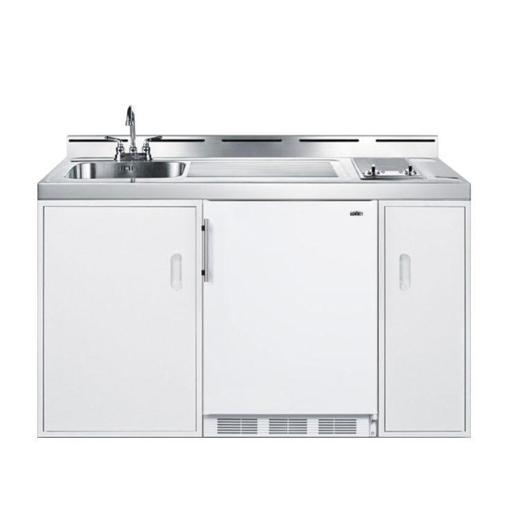 "Summit C60EL 60"" All-in-One Combo Kitchen - Refrigerator, Freezer, 2 Burner, 2 Cabinet, 115v"