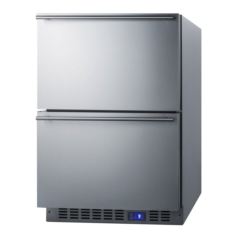 """Summit CL2R248 24"""" Undercounter Refrigerator w/ (2) Drawers - Stainless, 115v"""