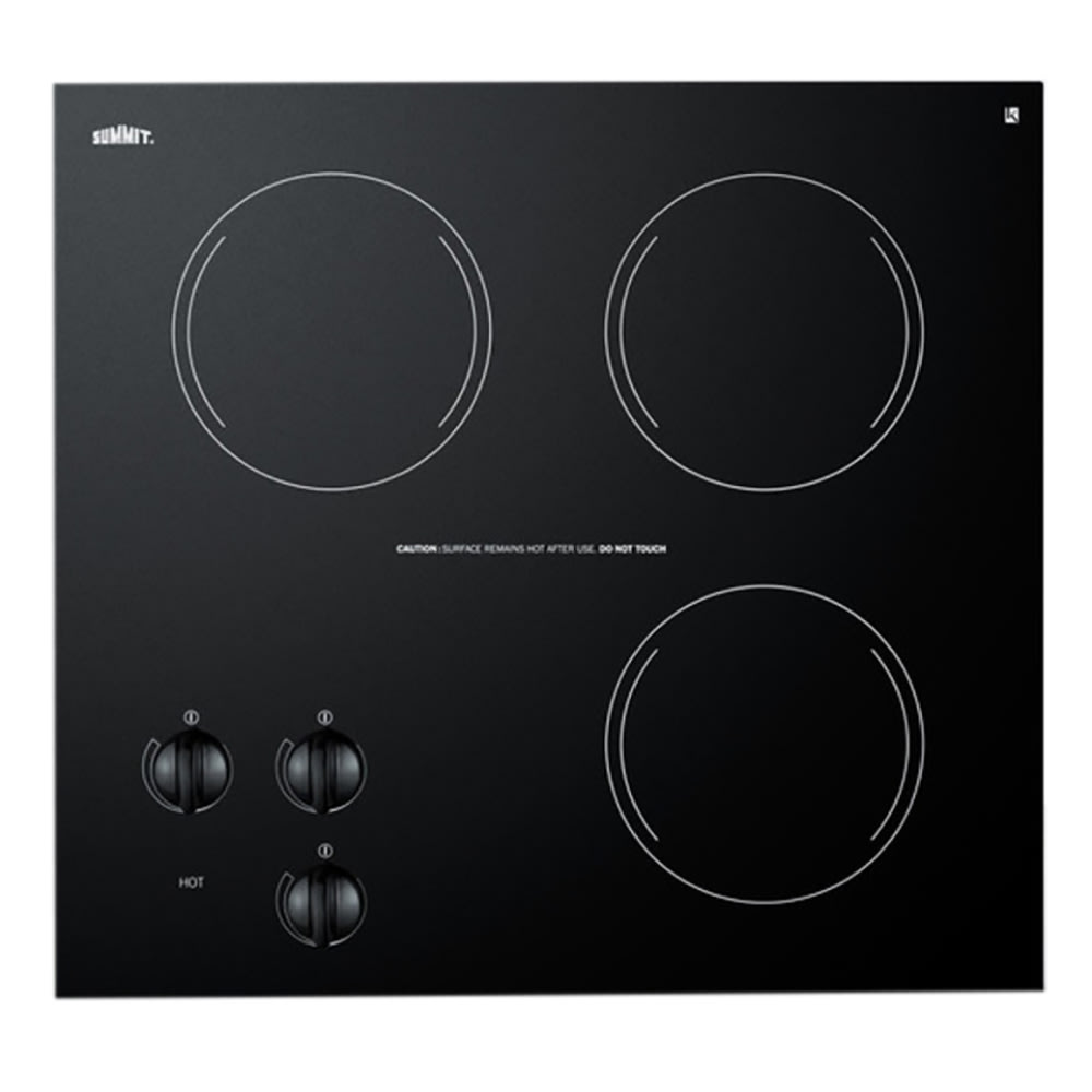 "Summit CR3240 20"" Ceramic Cooktop w/ 3-Burners, Black, 230v/1ph"