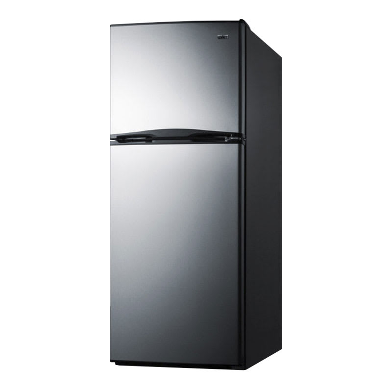 "Summit FF1387SS 24"" Refrigerator Freezer w/ Door Storage, Black/Stainless, 11.5-cu ft"