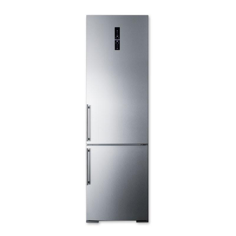 "Summit FFBF181SS 24"" Bottom Freezer/Top Refrigerator Combo - 12.5 cu ft, Frost Free, Platinum"