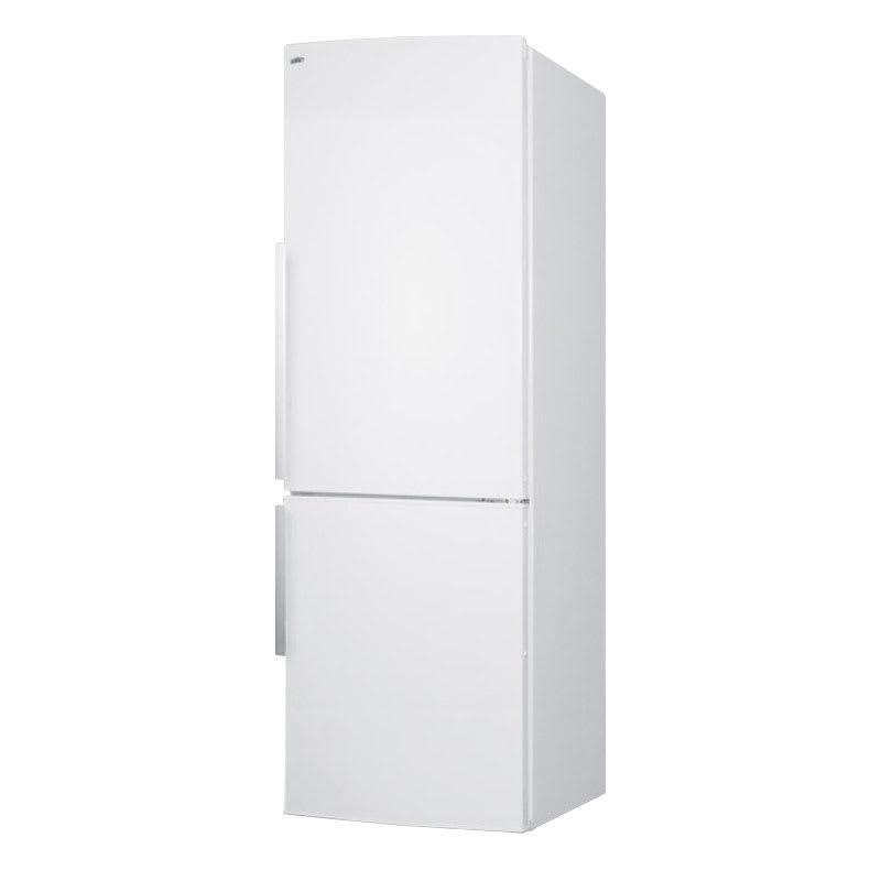 """Summit FFBF240WX 24"""" Bottom Freezer Refrigerator w/ Wine Shelf & 2-Crispers, White, 9.85-cu ft"""