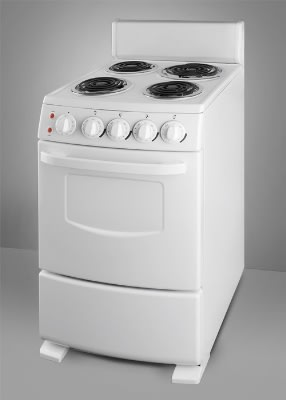 Summit RE20W 20-in Range w/ Chrome Drip Pans, 4-Coil Elements, White Pearl, 2.62-cu ft