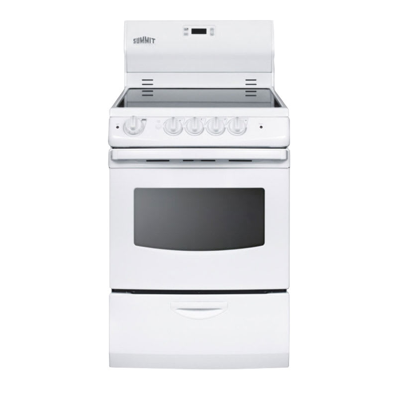 """Summit REX242W 24"""" Electric Range with Ceramic Cooktop, 220v"""
