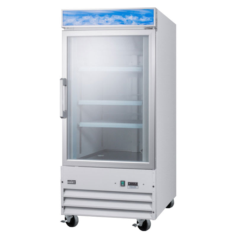 "Summit SCFU1210 27"" One-Section Display Freezer w/ Swinging Door - Bottom Mount Compressor, 115v"