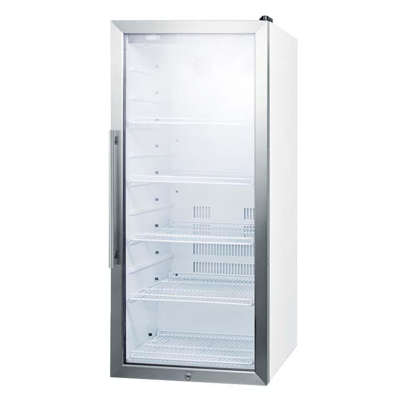 """Summit SCR1006 21"""" One-Section Glass Door Merchandiser w/ Swing Door, White, 115v"""