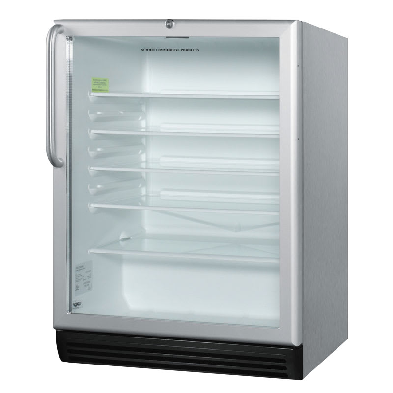 "Summit SCR600BLCSS 24"" Countertop Refrigerator w/ Front Access - Swing Door, Stainless, 115v"