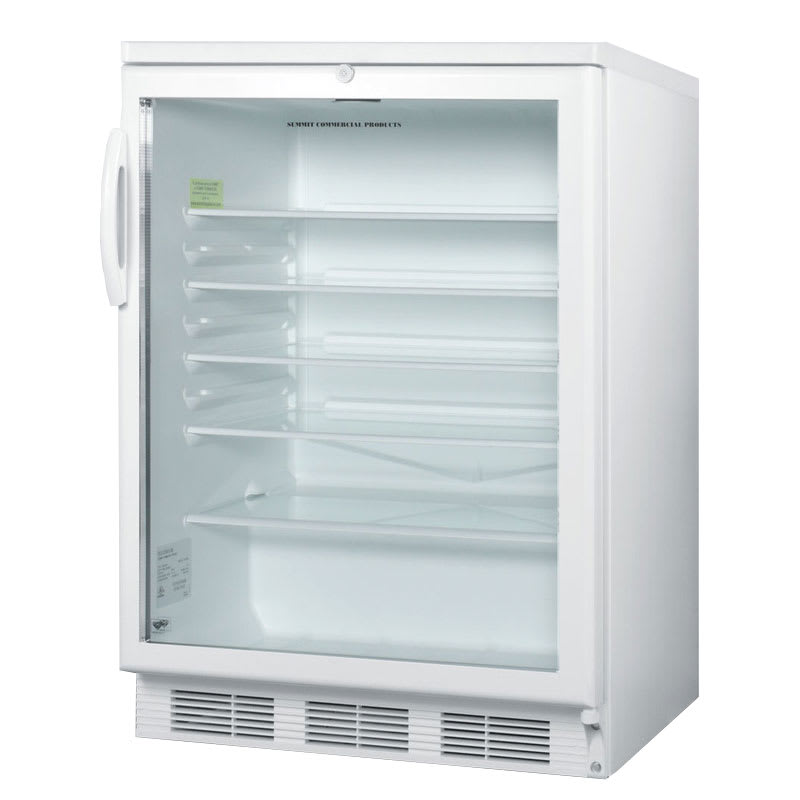 "Summit SCR600L 24"" Countertop Refrigerator w/ Front Access - Swing Door, White, 115v"