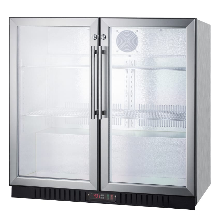 "Summit SCR7012DBCSS 36"" (2) Section Bar Refrigerator - Swinging Glass Doors, 115v"