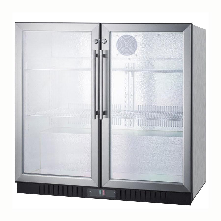"Summit SCR7012DCSS 36"" (2) Section Bar Refrigerator - Swinging Glass Doors, 115v"