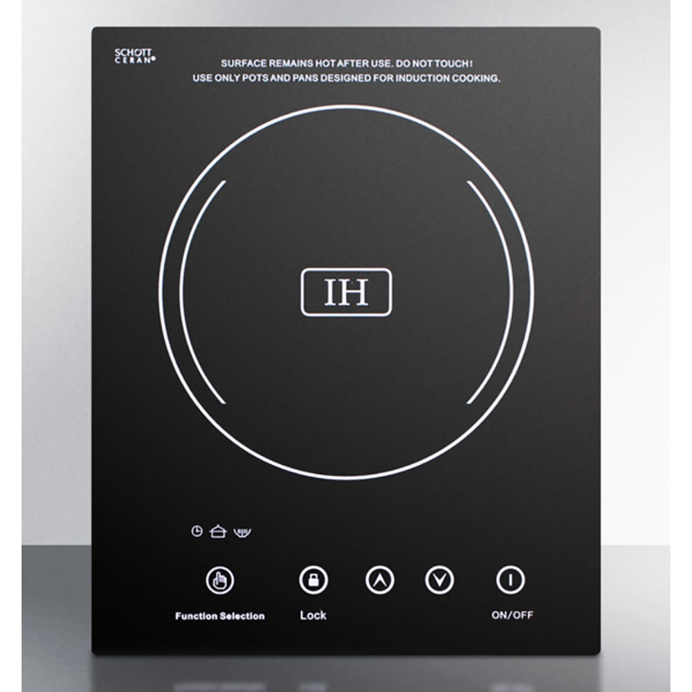 Summit SINC1110 Built In Induction Cooktop w/ 1-Zone, 8-Power Settings, Black