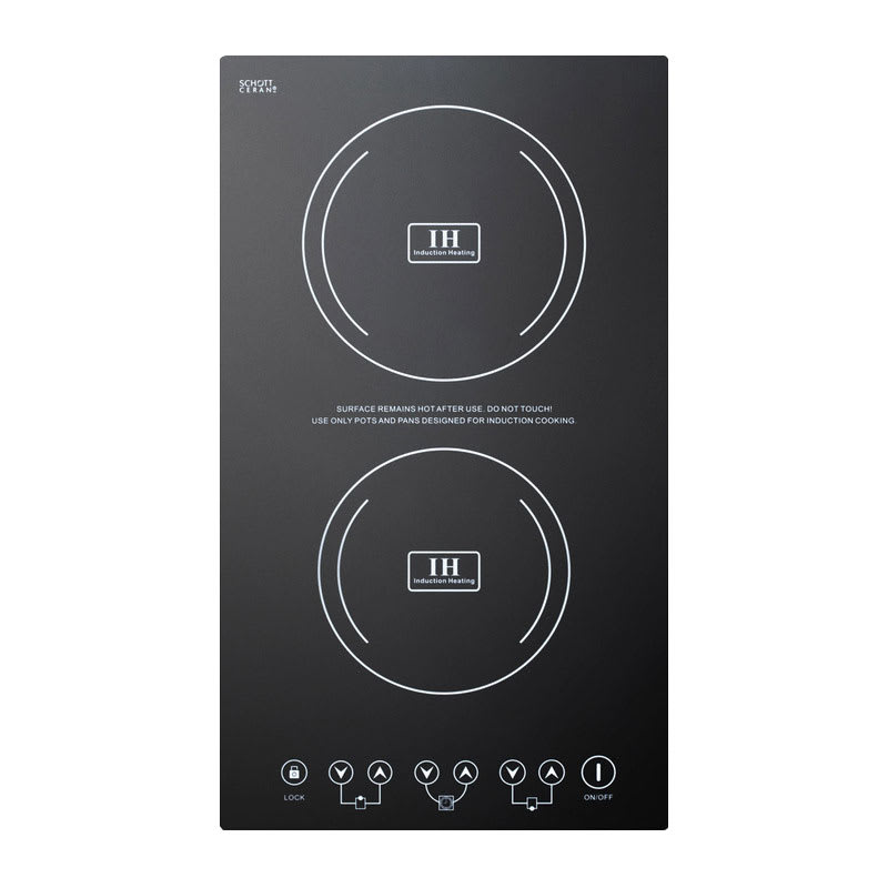 Summit SINC2220 Built In Induction Cooktop w/ 2-Zone, 8-Power Settings, Black