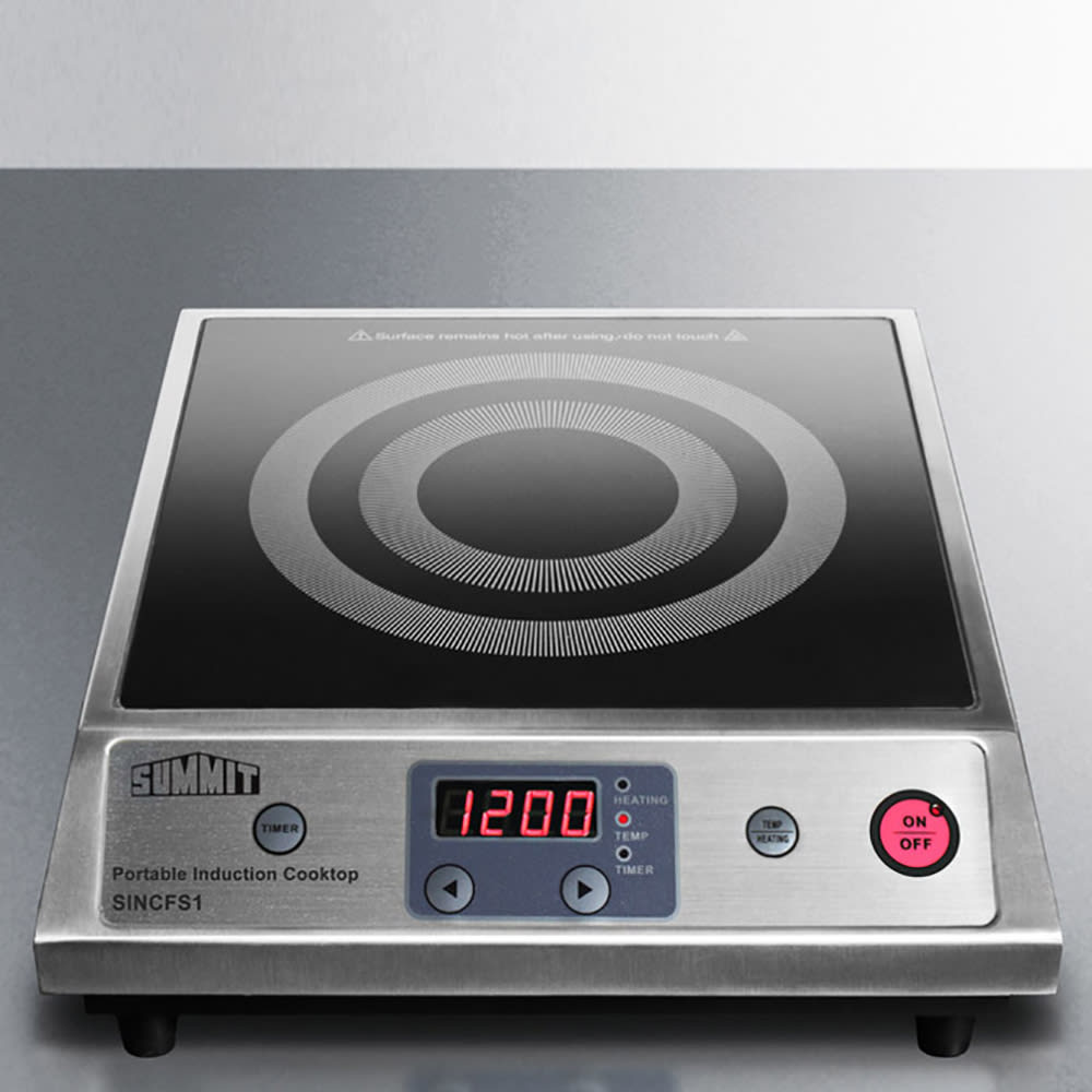 Summit SINCFS1 Portable Induction Cook Top w/ 1-Single, 10-Power Levels & Auto Pan Recognition, Black