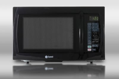 Summit SM1100B Microwave w/ Rotary Turntable, Touchpad & Digital Clock, Black, 1-cu ft