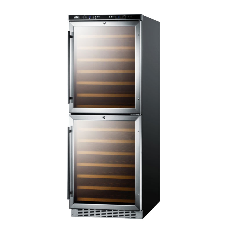 """Summit SWC1875 24"""" Two Section Wine Cooler w/ (2) Zones - 108-Bottle Capacity, 115v"""