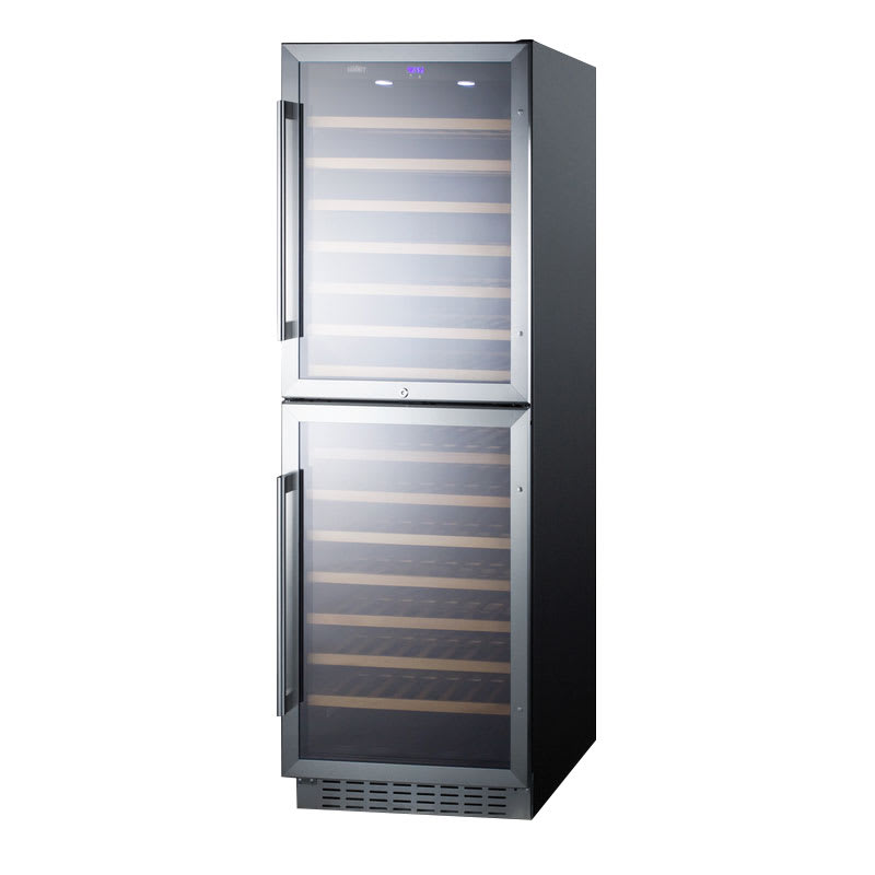 "Summit SWC1875B 24"" Two Section Wine Cooler w/ (2) Zones - 118-Bottle Capacity, 115v"