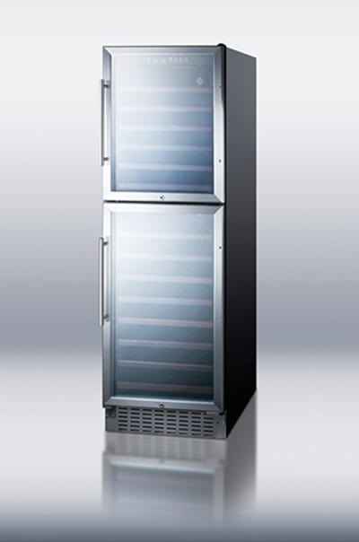 """Summit SWC2149 24"""" Two Section Wine Cooler w/ (2) Zones - 149-Bottle Capacity, 115v"""