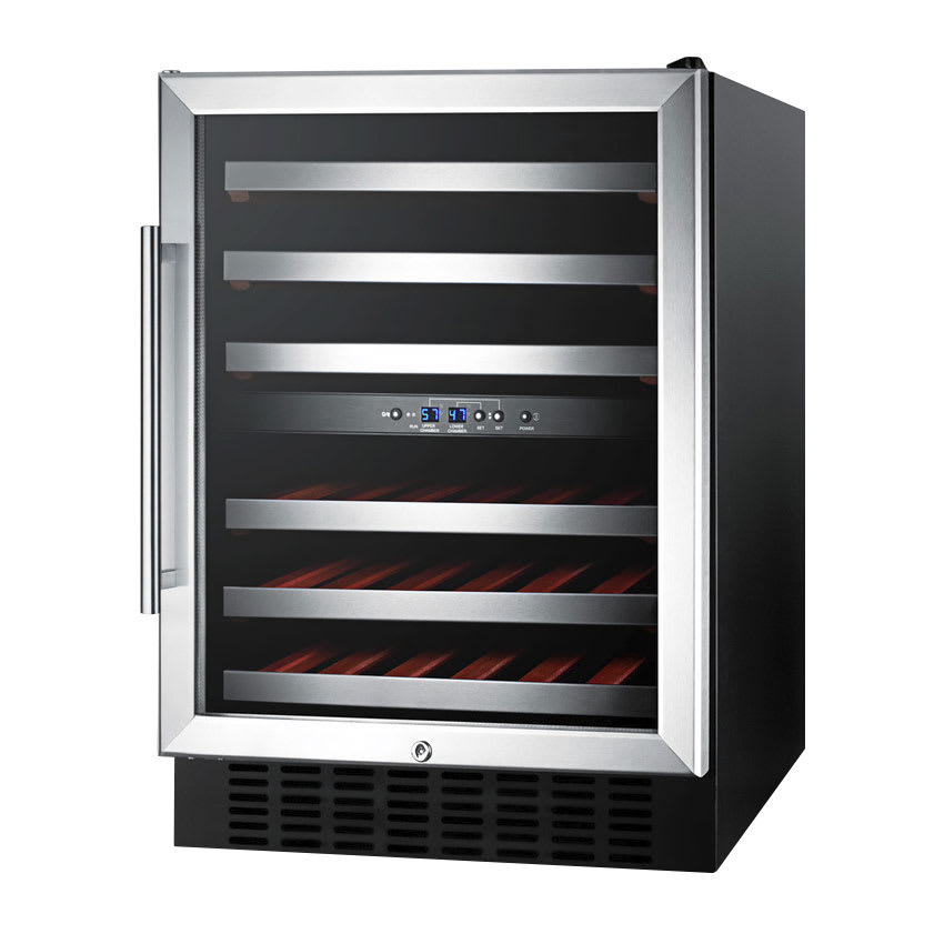 Summit SWC530LBIST Wine Cellar w/ 2-Zones, Reversible Locking Door & Auto Defrost, 115v, Black