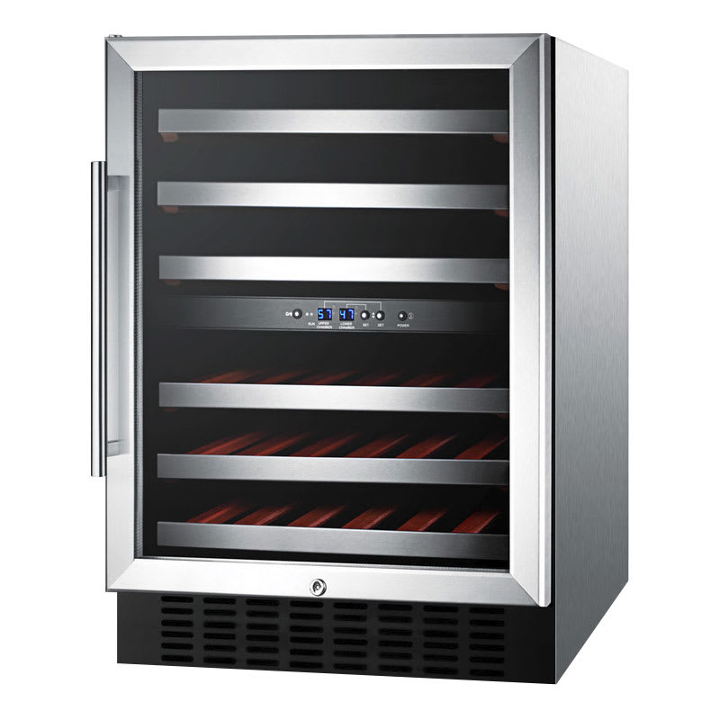 "Summit SWC530LBISTADA 24"" One Section Wine Cooler w/ (2) Zones - 36-Bottle Capacity, 115v"