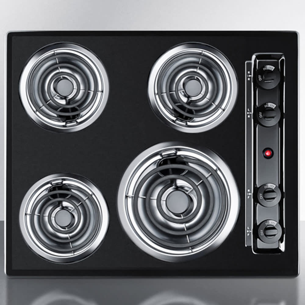 "Summit TEL03 24"" Cooktop w/ 8"" Element & (3) 6"" Coil Elements, Porcelain, Black, 220v"