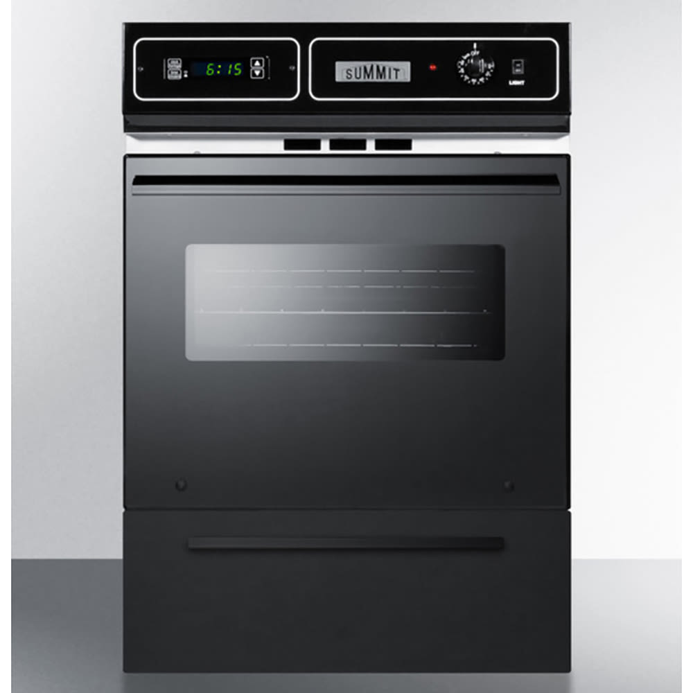 "Summit TEM721DK 24"" Wall oven w/ Electronic Ignition, Digital Clock & Oven Window, Black"
